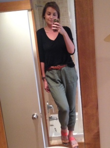 PLEASE EXCUSE THIS EMBARASING SELFIE. I wasn't sure how else to show off the full greatness of the grandpa pant. (They actually looked fairly flattering when they're not on a person's body.) So, I took a mirror selfie and the cringing hasn't stopped since.