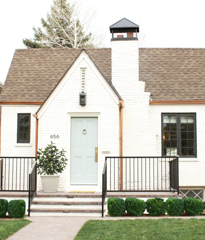 """White+Brick+Tudor+House+and+Front+Door+in+Benjamin+Moore's+""""China+White""""+and+""""Greyhound"""".jpeg"""